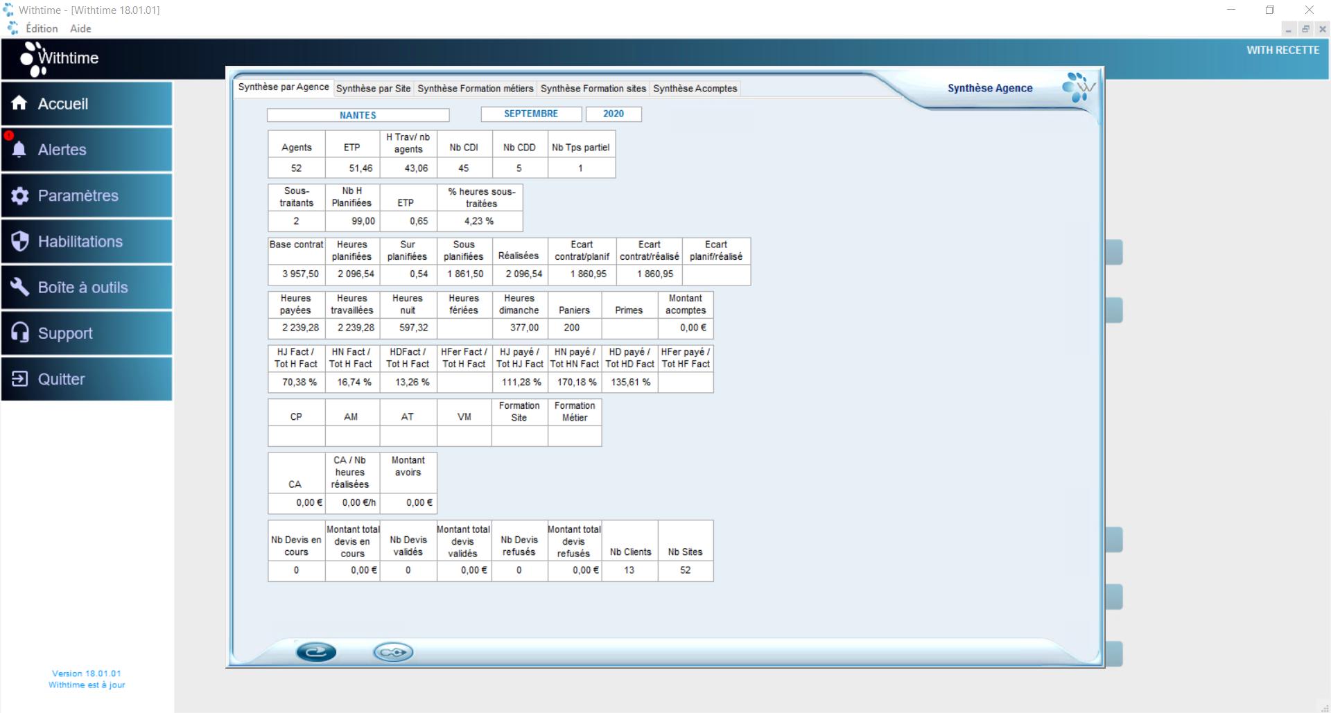 Capture d'écran du Module Analyse sur le logiciel Withtime Sécurité
